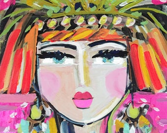 Abstract Portrait Print, Warrior Girl Nell