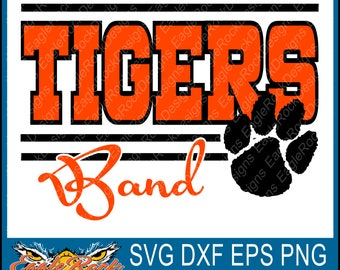 Tigers Band| SVG| DXF| EPS| Png| Cut File| Tigers| Band| Mom| Dad| Vector| Silhouette| Cricut| Digital Download