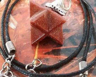 Red GOLDSTONE Sun Sitara 3D MERKABA Star PENDANT with Silver Top, Sacred Geometry Necklace, With Hemp Chain