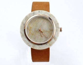 Greyish Marble Watch Real Stone Watch