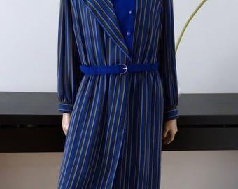 FINK MODELL stripes purple vintage dress size 44 - uk 16 - us 12