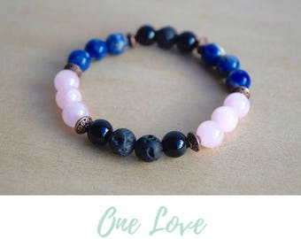 Rose Quartz Bracelet, Sodalite Bracelet, Onyx Bracelet / simple bracelets,meditation bracelet,protective gemstone,protection amulet bracelet