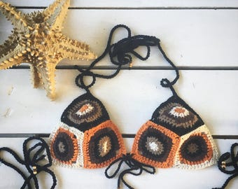 Crochet bohemian bikini top