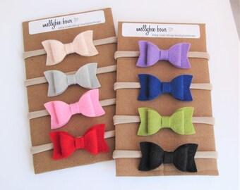 Mini Wool Felt Bow Nylon Headband-PICK QUANTITY & COLOR, 40+ Colors/ Mini Felt Bow/Mini Felt Bow Headband Felt Bow Headband Set/Bow Headband