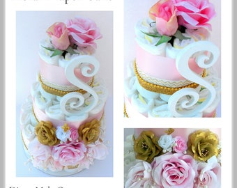 Diaper Cake Girl - Floral Diaper Cake - Pink Diaper Cake - Baby Shower Centerpiece - Diaper Cake Decoration - Baby Girl Diaper Cake