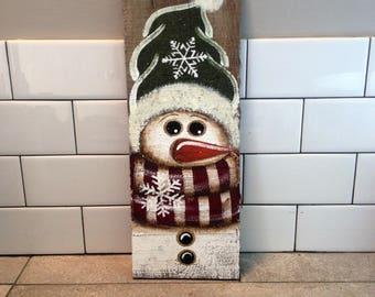 Handpainted Snowman on Reclaimed Wood, Christmas Decor, Holiday Decor, Winter Wall Hanging
