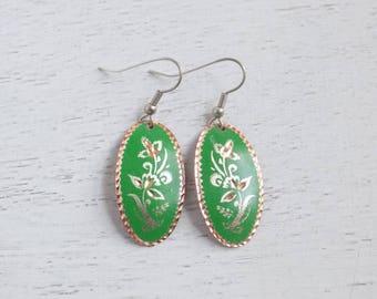 Sale! Green Copper Earrings, Copper Jewelry, Lightweight Earrings, Green Dangle Earrings, Copper Green Earrings, Boho Earrings, Gift C1-6
