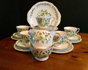 Colclough, English, Bone China, tea set, 6, trios, cake plate, milk jug, sugar bowl, green, rose, white, vintage