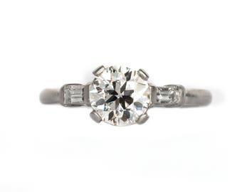 Circa 1930s Art Deco Platinum GIA Certified .93ct Old European Brilliant Cut Diamond Engagement Ring - VEG#1054