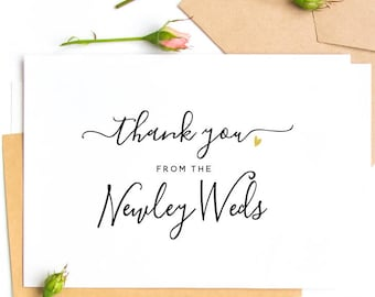 Thank You From the Newly Weds Wedding Day Card - White Card Blank Inside for Your Personal Message