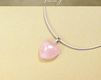 Gemstone Rose Quartz pendant sweater necklace, Rose Quartz Heart pendant, Genuine leather necklace, Heart chakra jewelry, InfinityCraftArts