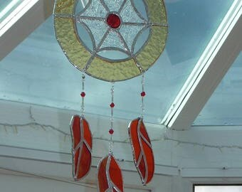 Dreamcatcher made from stained glass