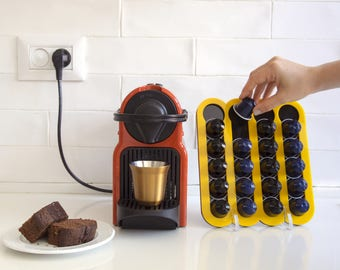 Yellow Nesspresso Coffee Pod Holder, Capsules Holder For 20 Nespresso Pods Storage, Coffee Nespresso Pod Stand Kitchen, Housewarming Gift