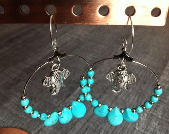 "Hoop earrings silver and turquoise, silver metal ""Sibella"" elephant charm"