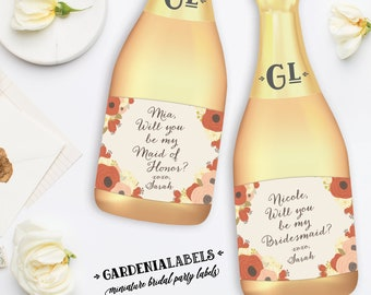 Will you be my Bridesmaid Mini Champagne Label, Bridesmaid Proposal, Maid of Honor Ask Miniature Wine Label, Bridesmaid gift, Bridesmaid Box