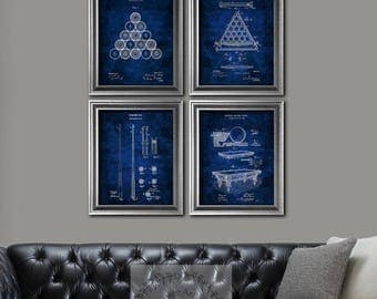Billiards decor set of 4 art prints Pool Decor Billiards balls Pool Table Billiard table, Billiard Cue Blueprint Billiards gifts for him