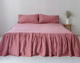 Stonewashed RUFFLED BED SKIRT. Dusty pink linen bedskirt. Linen dust ruffle. Linen coverlet.