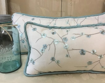 Embroidered Beige and Light Blue Linen Floral Pillow