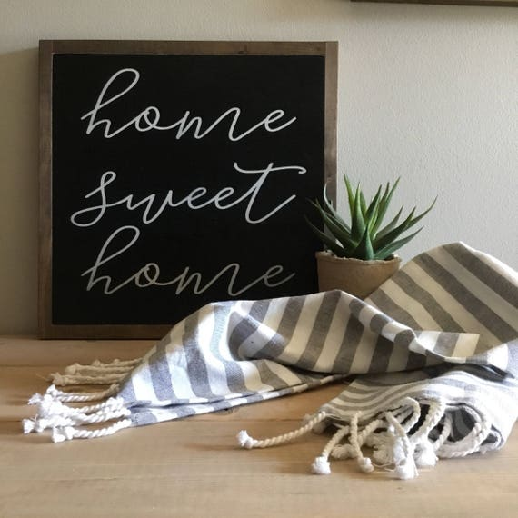 HOME SWEET HOME 1'X1' sign | distressed wooden sign | painted art | elegant modern farmhouse decor | framed wall plaque