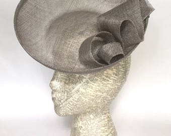 Light grey sinamay saucer fascinator