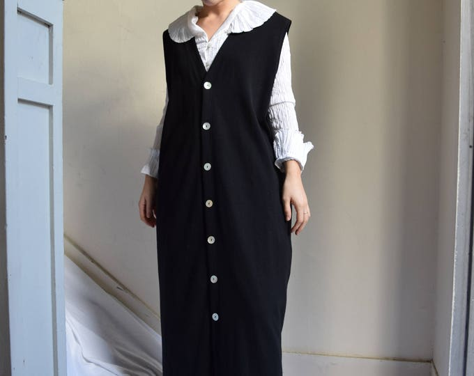 Black Jersey Cotton Floor Length Layering Dress  |  Print Optional