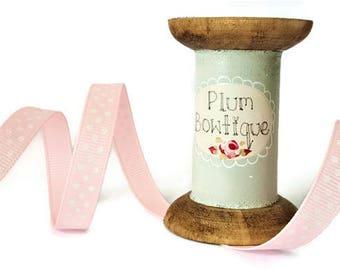 Pale Pink with White Polka Dot Print 9mm Grosgrain Ribbon *Sold Per Metre*