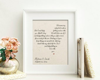Wedding Song Lyrics Print | Bridal Shower Gift for Couple | Song Lyric Print | 2 Year Anniversary Gift | First Dance Lyrics | Husband Gift