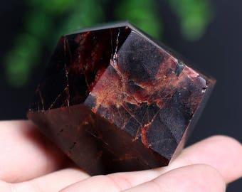 Almandine Garnet Smooth Polished Crystal Mineral Specimen, Red Garnet Gemstone Large Crystal J883