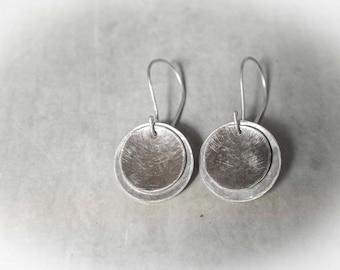 Round Silver Earrings, Silver Circle Earrings, Sterling Silver Round Earrings, Coin Earrings