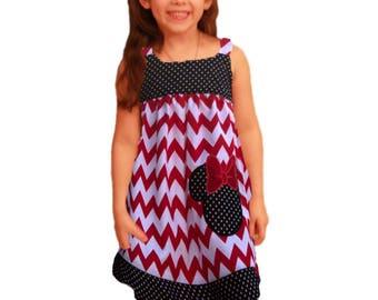 Girl dress,  Minnie girl dress, toddler dress, birthday dress, baby dress, girl outfit, girl dress, girl clothes applique dress