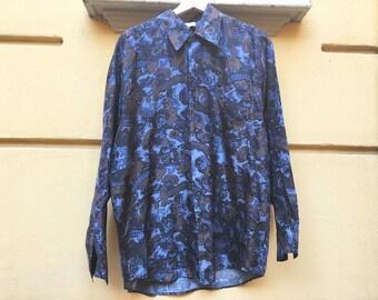 Men's 90's Silk shirt / Unisex 90's Silk Shirt / Swing Shirt Floral / 90s Dresscode Shirt / Men's Shirt Dancer / Shirt XL