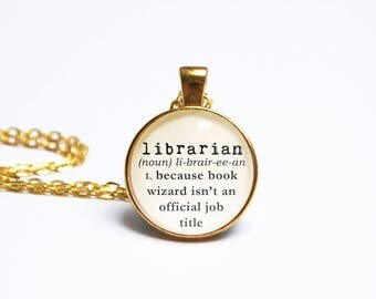 Librarian Necklace Typewriter Dictionary Book Jewelry Jewellery Literary  Library Card Bookworm Bibliophile Wizard Book Gift
