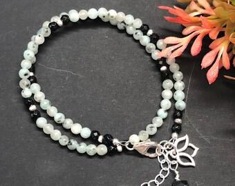 Lotus Jasper and Black Onyx Wrap Bracelet with Lotus Charm