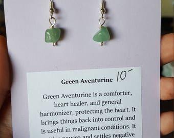 Green Aventurine Chip Healing Earrings