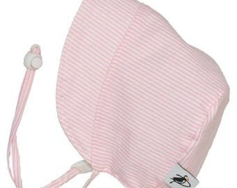 Infant's Sun Protection Bonnet - Cotton Print in Pink Natty Stripe (newborn, 3 month, 6 month, xxs)