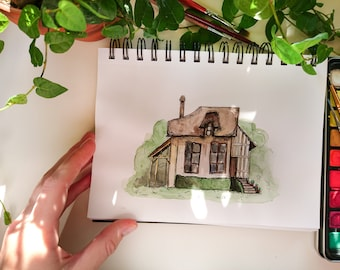 Watercolor painting, Original artwork, Architecture, Home, House, Nursery Doodles