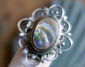Vintage Abalone Sterling Mexico Ring Eagle Hallmark