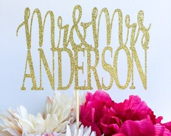 Mr and mrs cake topper | Bridal shower cake topper | Engagement party cake topper | Bride cake topper | Glitter topper | Mr and Mrs