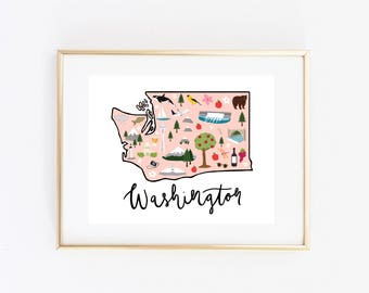 Illustrated Washington State Art Print, Washington Map Print