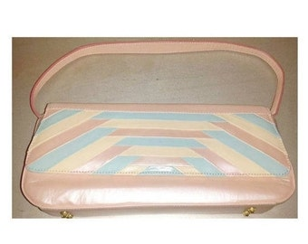 Pink J Renee Clutch PURSE,Vintage Pink Purse,Pink Handbag, J Renee,Pink and Blue Bag,Pastel Bag,High Heel Shoe Zipper Pull,Clutch,Envelope