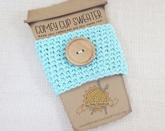 Button Cup Cozy, Aqua Coffee Cozy, Coffee Cozy, Coffee Cup Sleeve, Aqua Cup Cozy, Cup Cozy, Coffee Gift, Coffee Cup Cozy, Comfy Cup Sweater