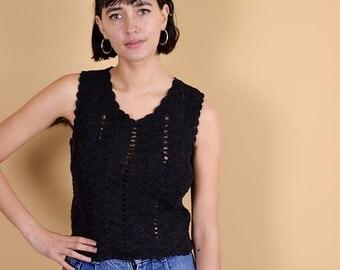 90s Black Crochet Top Small Medium, Boho Crochet Top, Vintage Sleeveless Top, Semi-Sheer Black Top, 90s Clothing, Festival Top, Black Vest