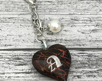 """Glitter """"A"""" Initial Glass Heart  with Pearl Colored Bead Planner Charm / Key Fob"""