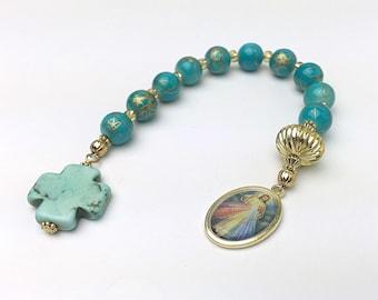 Divine Mercy Chaplet. Divine Mercy Decade Rosary. Catholic Rosary Chaplet. Devotional Chaplet. Blue Rosary.  #HD1