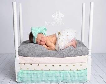 MINT Ruffle Knot Wrap- headwrap; fabric head wrap; ruffle head wrap; newborn headband; baby headband; toddler headband; baby bow