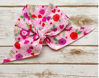 GARDEN OF HEARTS Gorgeous Wrap- headwrap; fabric head wrap; head wrap; boho; newborn headband; baby headband; toddler headband
