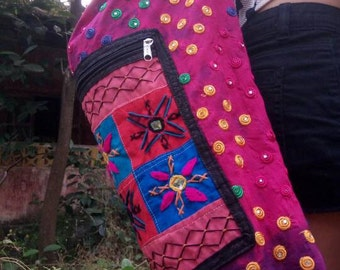 Rainbow Drops, Yoga Mat Bag, Banjara, Boho, embroidery, mirror work, tribal, ethnic, India, colorful, vibrant colors, unique, one-of-a-kind