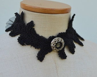 Choker of Black Lace, evening necklace Choker black Choker elegant black lace, black necklace, black embroidered evening necklace