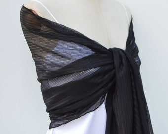 Stole cocktail Black Lace, lace scarf, evening shawl, elegant stole black chic Black Lace Black Lace