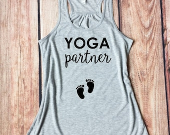 Yoga Tank Top, Yoga Partner, Yoga Apparel, Yoga Tees, Maternity Workout Shirt, Baby Bump, Pregnancy Tanks, Pregnancy Reveal, Baby Shiwer